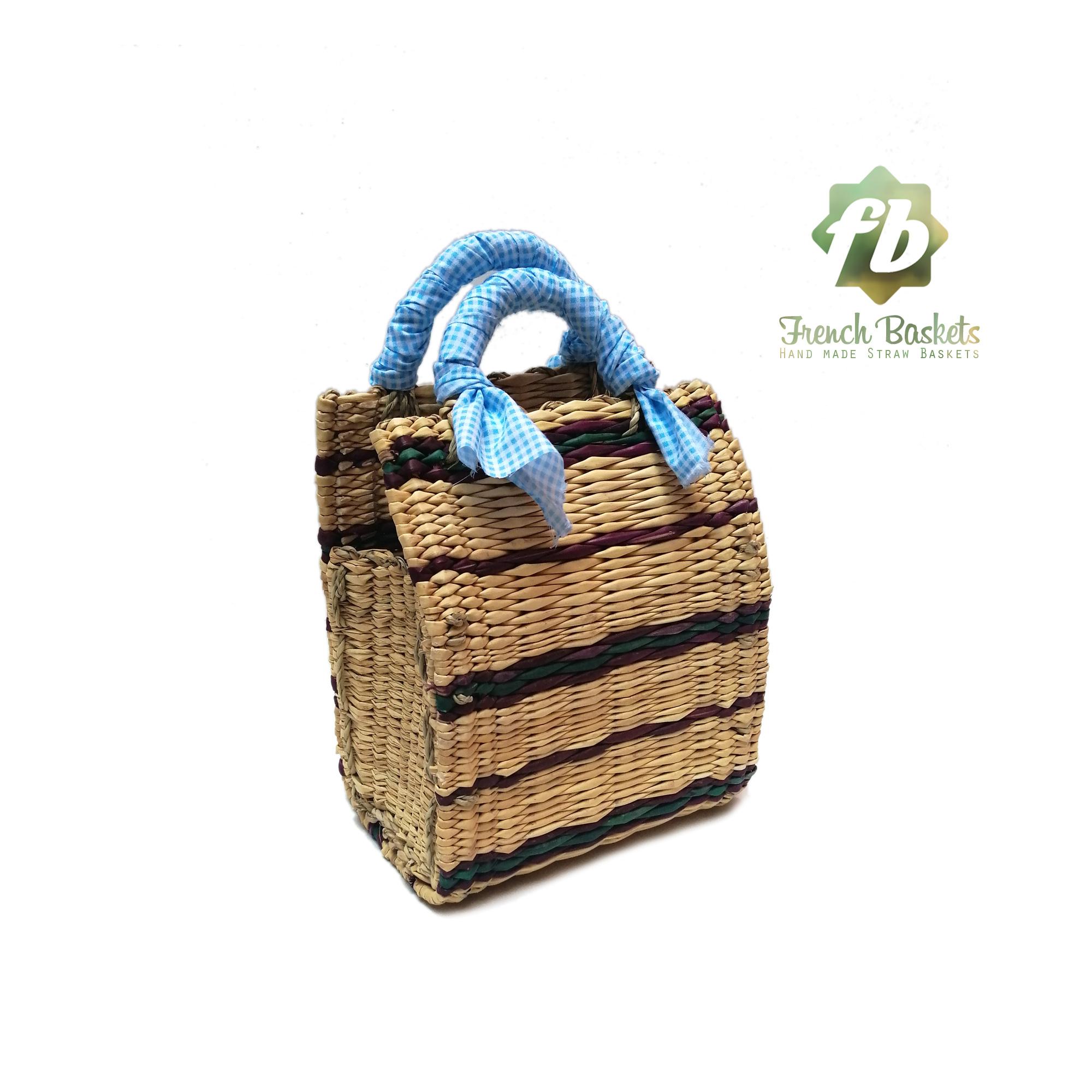 Straw handbag french baskets sky blue
