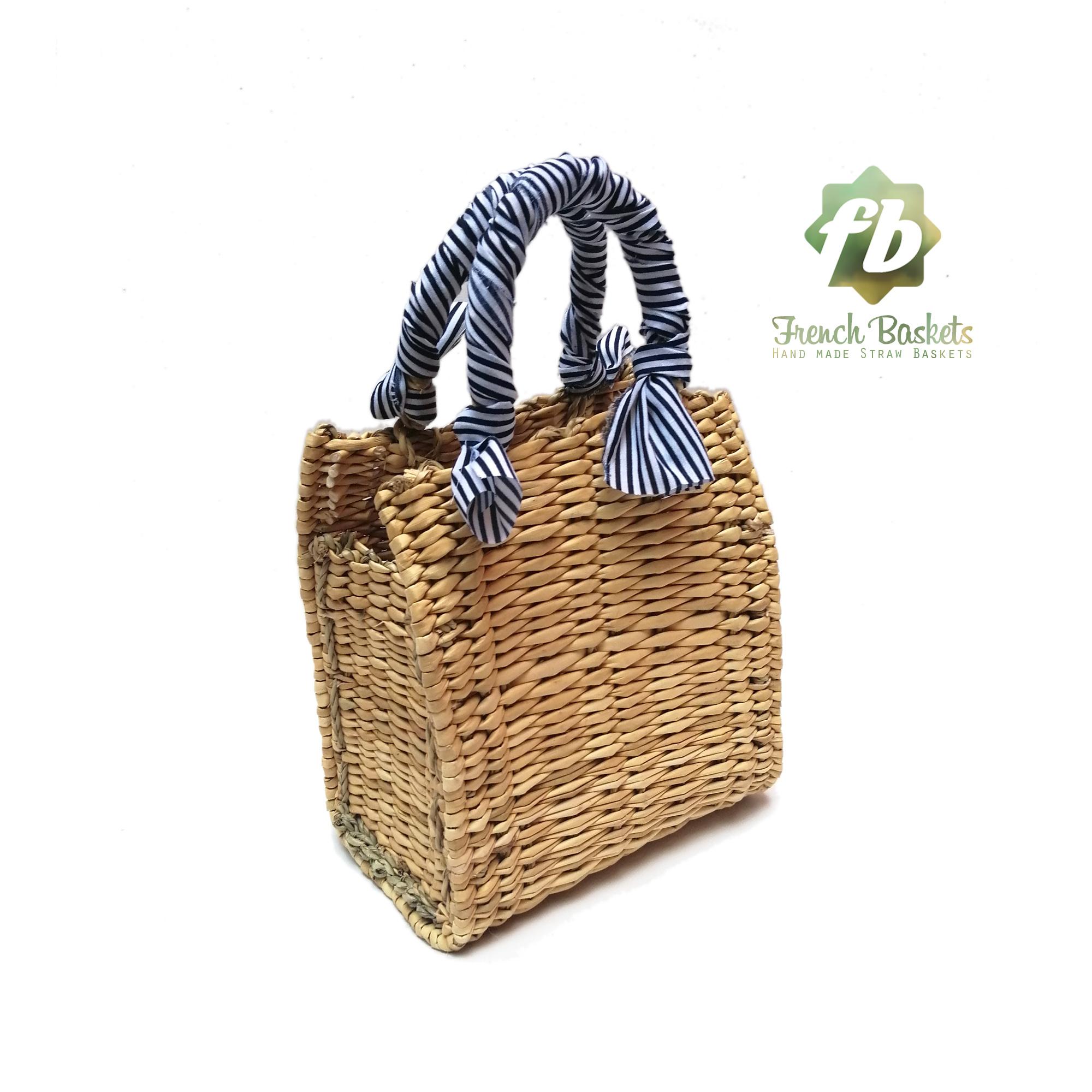 Straw handbag french baskets blue