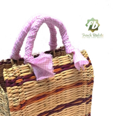 Straw handbag french baskets pink