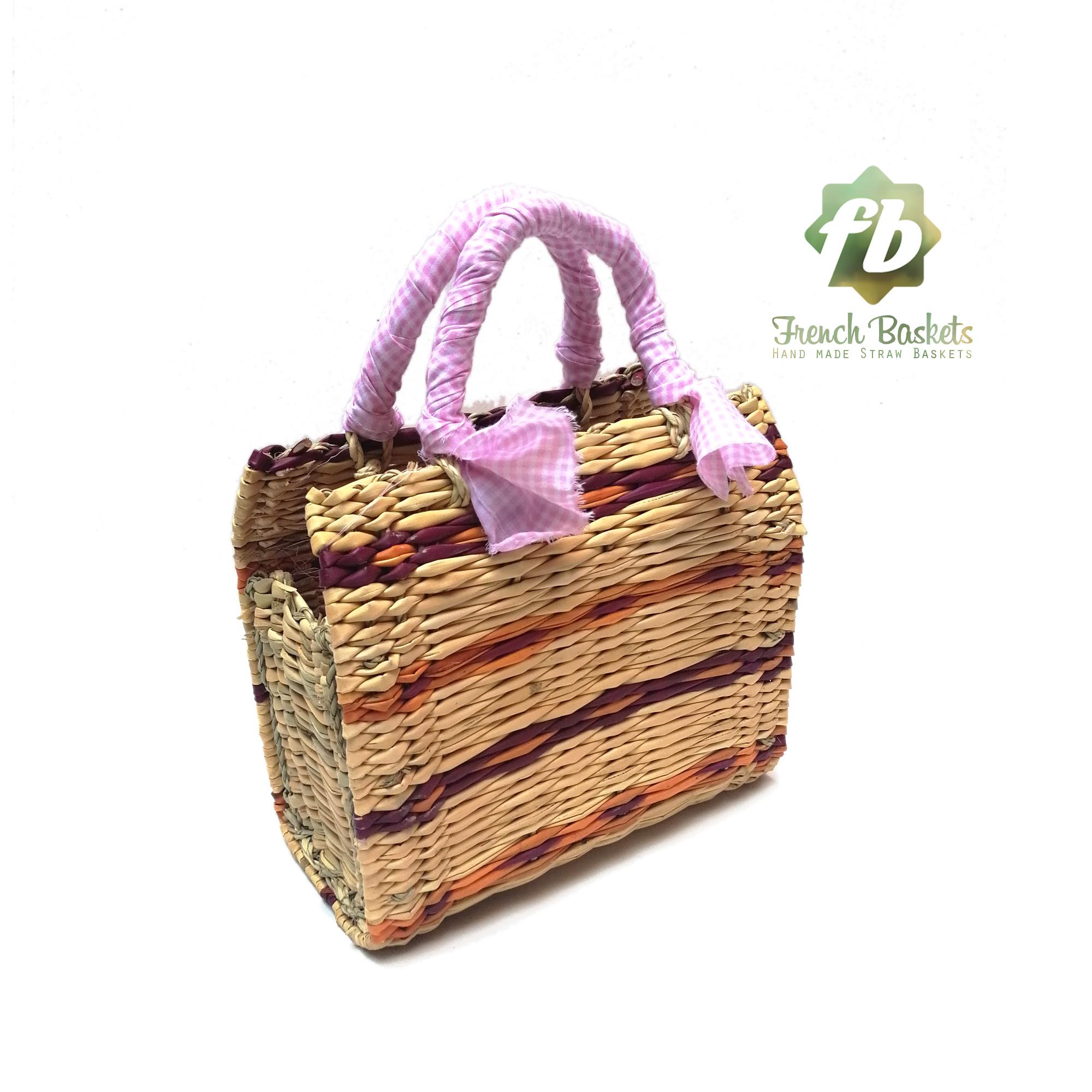 Straw handbag french baskets pink