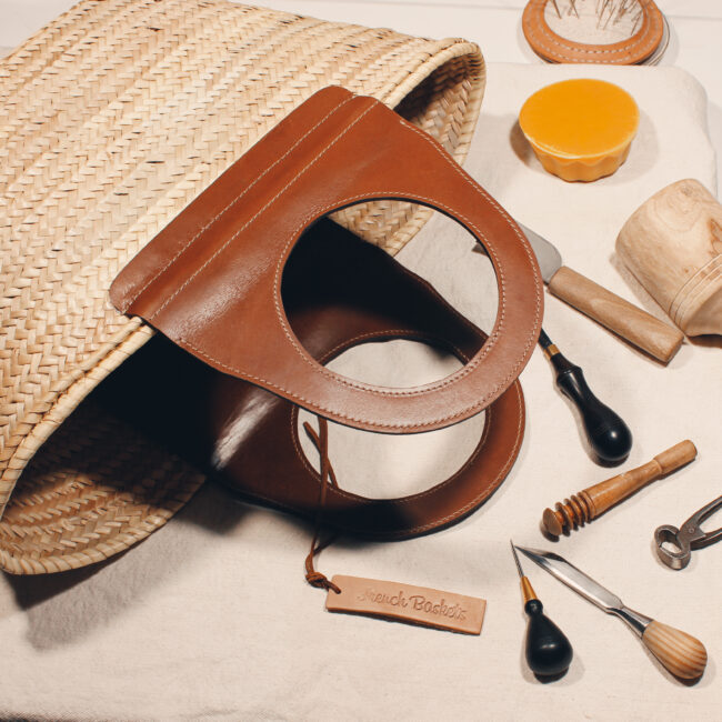 Travel Straw French Baskets handle Camel handmade leather goods