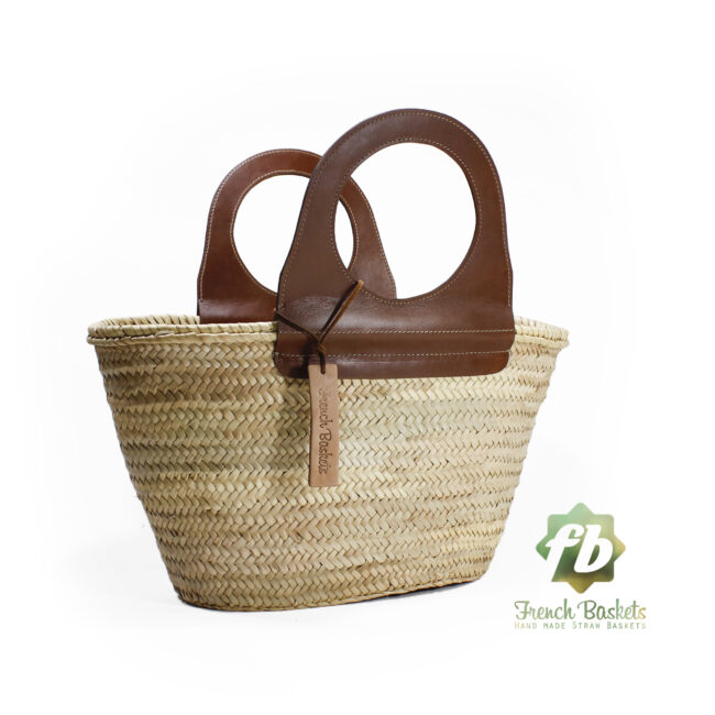 Travel Straw French Baskets handle Brown handmade leather goods