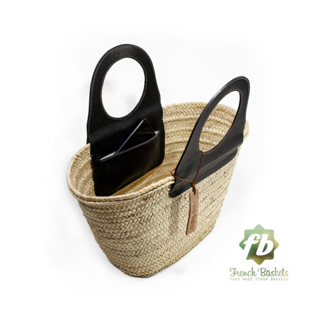 Travel Straw French Baskets handle Black handmade leather goods