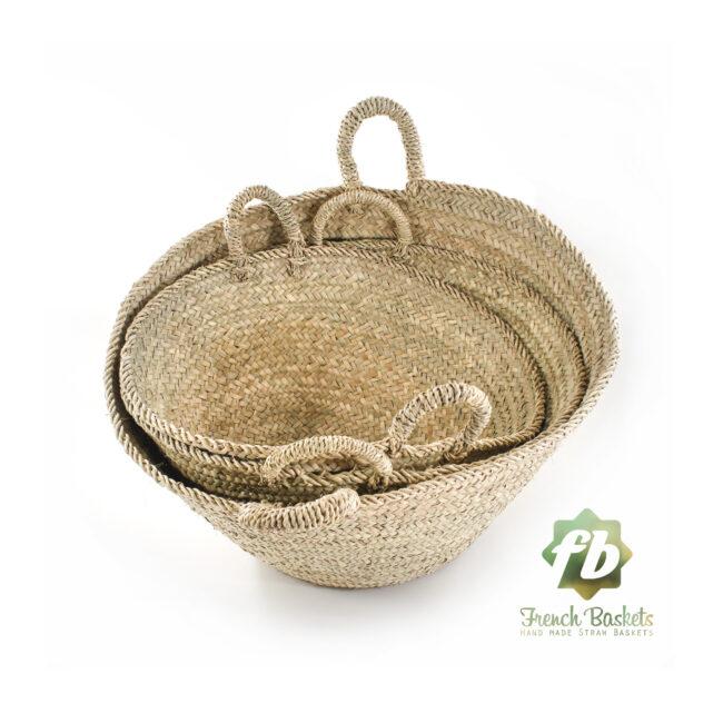 Set 3 Farmer's Market palm Baskets Small Medium Big size, French Basket, farm Basket, straw bag, french market basket, wholesale straw bag